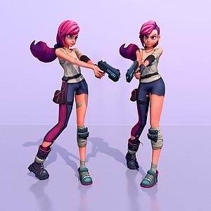 游戲角色瘋狂女孩模型3d模型