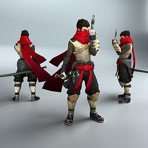 男性轻甲忍者模型3d模型