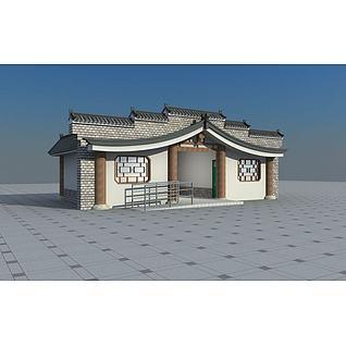 中式公共厕所3d模型