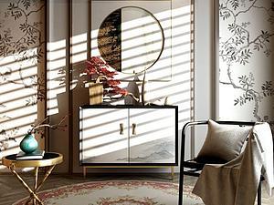 新中式装饰柜子椅子3d模型