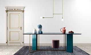 欧式简单餐桌?#23637;?#32452;合3d模型