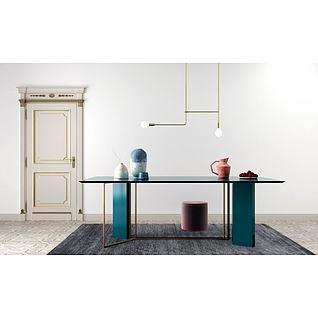 欧式简单餐桌陶罐组合3d模型3d模型