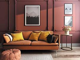 欧式简约客厅双人沙发模型