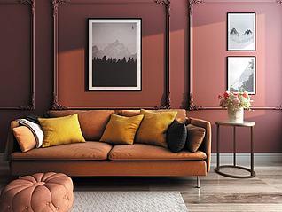 欧式简约客厅双人沙发模型3d模型