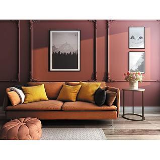 欧式简约客厅双人沙发3d模型
