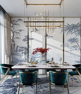 新中式餐厅桌椅组合模型3d模型