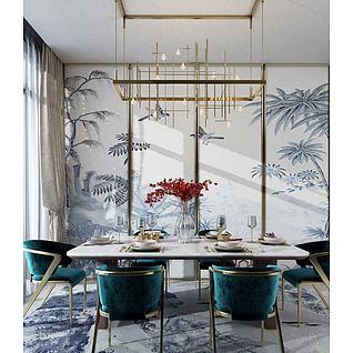 新中式餐厅桌椅组合3d模型3d模型