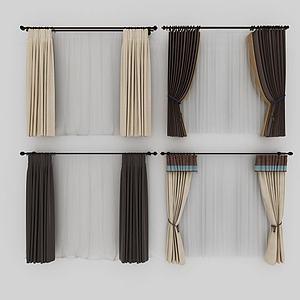 新中式挂杆窗帘模型