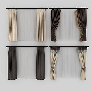 新中式挂杆窗帘模型3d模型