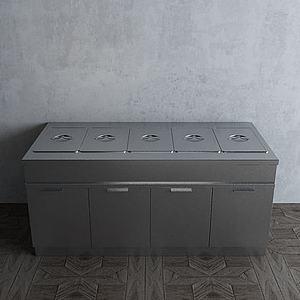 餐厅厨房不锈钢厨具热菜柜模型