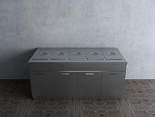 餐厅厨房不锈钢厨具热菜柜模型3d模型