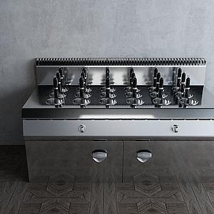 涮烫柜工业厨房厨具模型