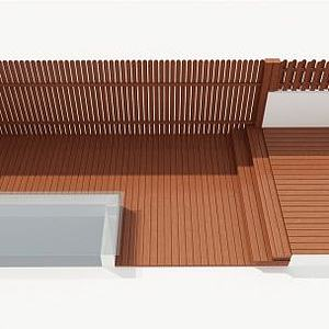 木圍欄地板3d模型