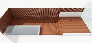 木围栏地板模型3d模型
