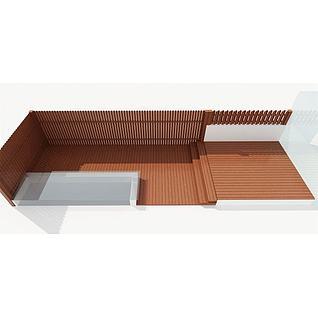 木围栏地板3d模型3d模型