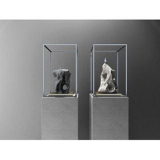 新中式摆件石头雕塑3d模型3d模型