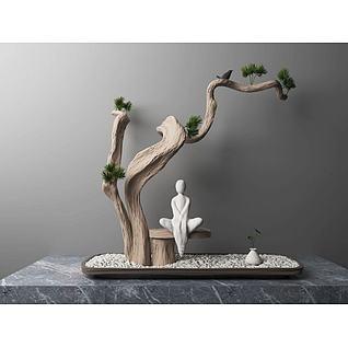 新中式松树任务雕塑摆件3d模型3d模型