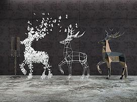 小鹿造型摆件3d模型