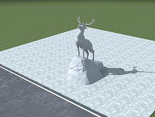 雄鹿雕塑模型3d模型