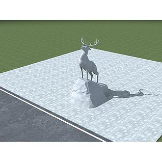 雄鹿雕塑3d模型