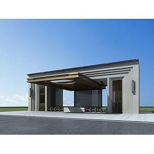 高档小区大门入口3d模型