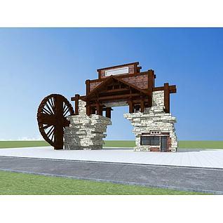 景区入口大门3d模型3d模型