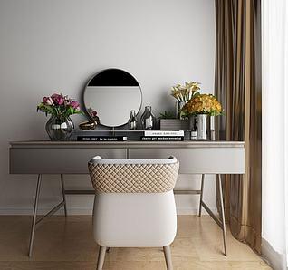 现代梳妆台椅子花艺模型3d模型