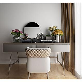 现代梳妆台椅子花艺3d模型