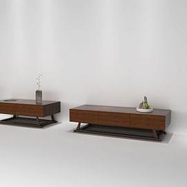新中式茶几组合电视柜模型