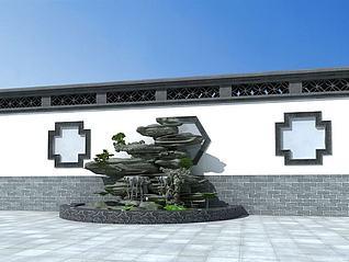 假山叠水模型3d模型