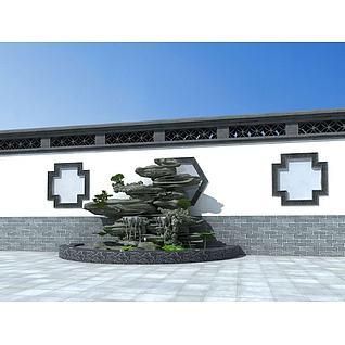 假山叠水3d模型