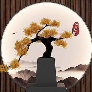 松树摆件、禅意松树3d模型