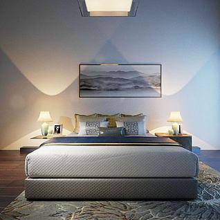 中式双人床3d模型3d模型