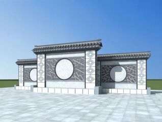 中式景墙模型3d模型