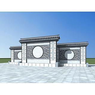 中式景墙3d模型3d模型