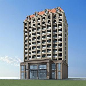 3d欧式酒店模型
