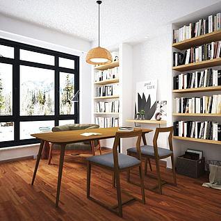 现代书桌椅模型3d模型