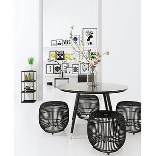 北欧现代创意餐桌椅3d模型3d模型