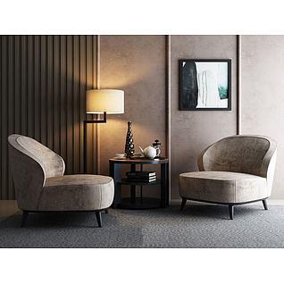 现代沙发茶几组合3d模型3d模型