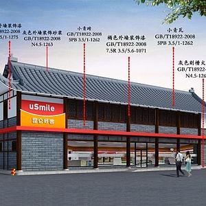 新中式加油站站房模型3d模型