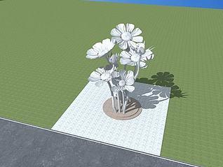 格桑花雕塑模型3d模型