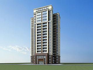 欧式高层住宅模型3d模型