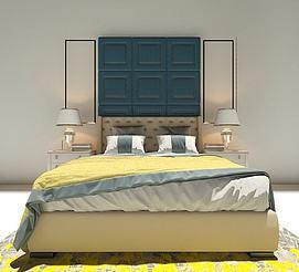 现代双人床3d模型