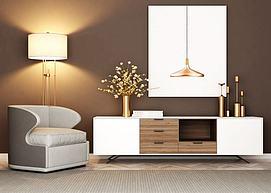 现代电视柜单椅组合3d模型