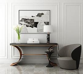 现代端景台单椅组合3d模型