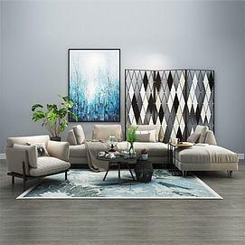 现代风格多人沙发茶几组合3d模型