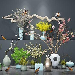 盆景植物组合新中式花艺模型