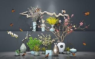 盆景植物组合新中式花艺模型3d模型