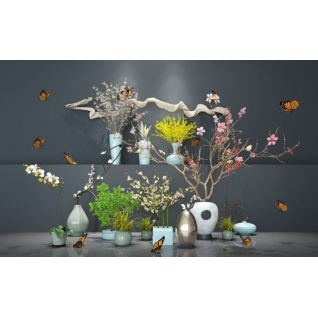 盆景植物组合新中式花艺3d模型3d模型