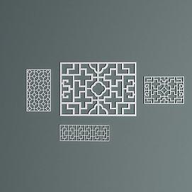 室内中式雕花窗格模型
